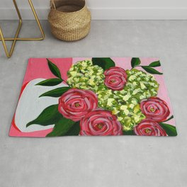 Abstract Flower Bouquet Painting - Muted Red and Green Palette Rug