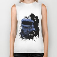 cookie monster Biker Tanks featuring Monster Madness: Cookie Monster by SB Art Productions