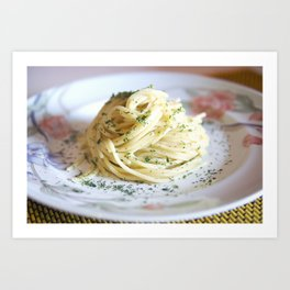Spaghetti with parsley, ginger and garlic. Art Print