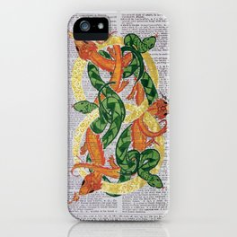 Always  (Dragons and Serpents infinitely entwined around two gold rings on dictionary page) iPhone Case