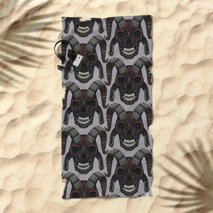 demon skull heather Beach Towel