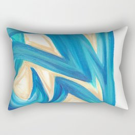Vanilla in the Leaves 2 - Abstract painting in modern bright blue, cream and soft yellow Rectangular Pillow