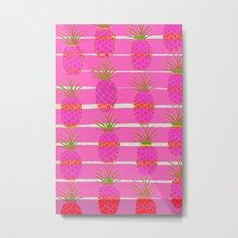 Pink Pineapples Metal Print