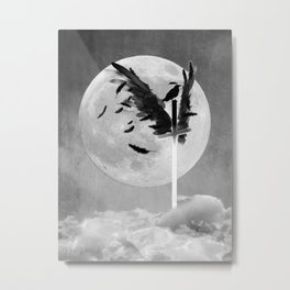 Black and White Cross with Wings Crow Moon Gothic Art A623 Metal Print