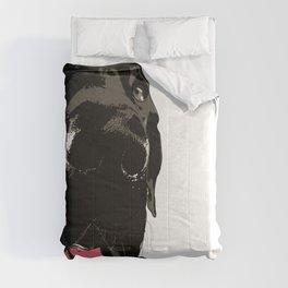 Great Dane Dog (black-pink collar) Comforters