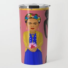 Frida Kahlo Tribute Pink Travel Mug