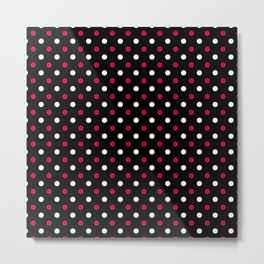 Red white polka dots on a black background Metal Print