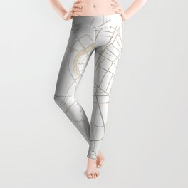Bangkok Thailand Minimal Street Map - Gold Metallic and White IV Leggings