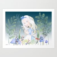 Cuddle the White Rabbit Art Print