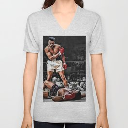 Mama Said I'm Gonna Knock You Out - Ali Knocks out Liston B&W over Color Painting Unisex V-Neck