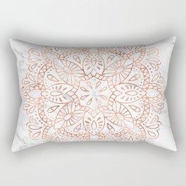 Rose Gold Mandala on Marble Rectangular Pillow