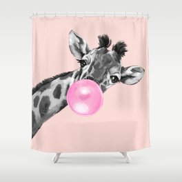 Bubble Gum Sneaky Giraffe Pink Shower Curtain
