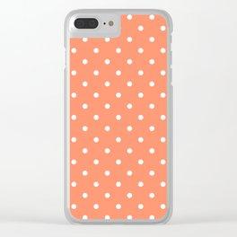 Peach Polka Dots Clear iPhone Case