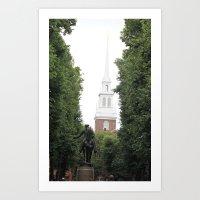 Old North Church & Paul Revere Art Print