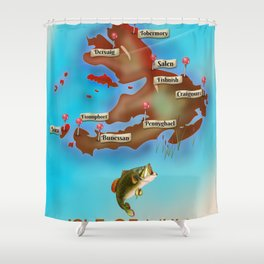 Isle of Mull travel poster. Shower Curtain