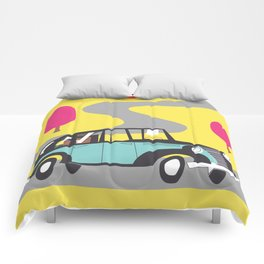 vintage car cartoon Comforters