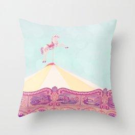 Carousel Dream Mint Throw Pillow
