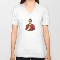 derek hale V-neck T-shirts featuring derek with kittens by steammmpunk