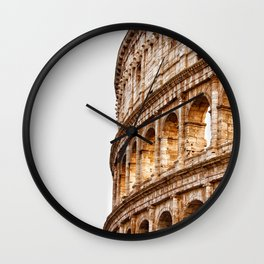 Italy Photography - The Colosseum Under The Gray Skies Wall Clock