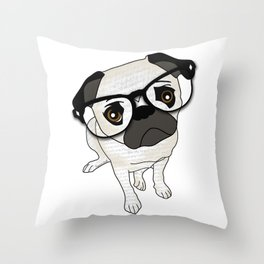 Pug Wearing Spectacles Throw Pillow