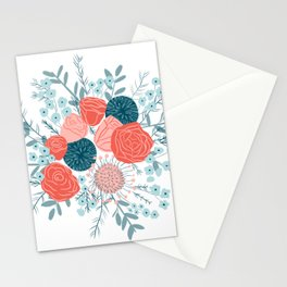 Muted florals on white Stationery Cards