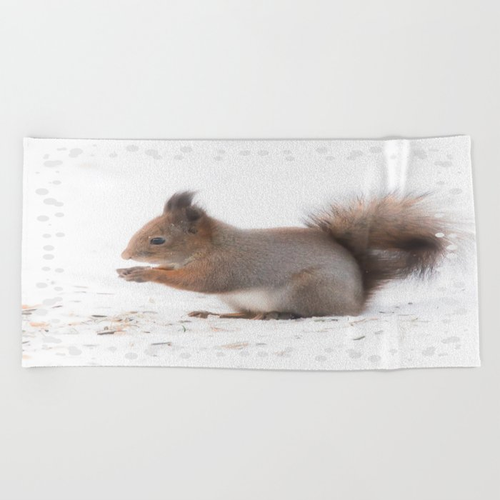 Squirrel And Lunch Pause Winter Scene #decor #society6 #buyart Beach Towel