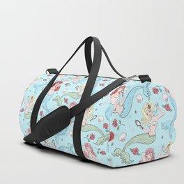 Mermaids and Roses on Aqua Duffle Bag