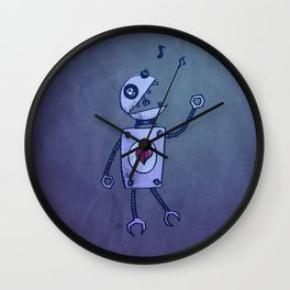 Happy Cartoon Singing Robot Wall Clock