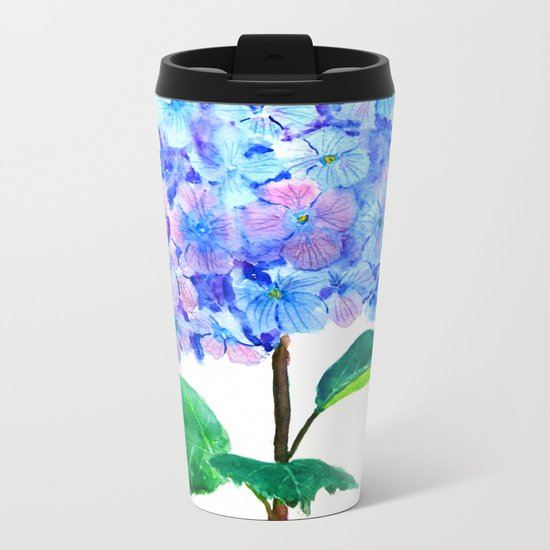 blue purple hydrangea Metal Travel Mug