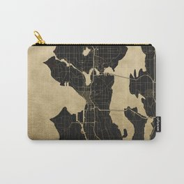 Seattle Black and Gold Map Carry-All Pouch