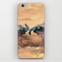 Elephants fighting iPhone Skin