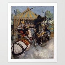 Knights jousting Art Print