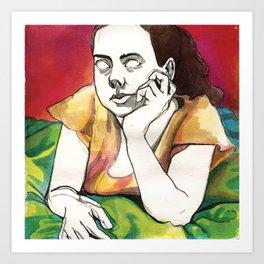 Girl on Red Art Print