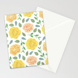 Hand painted yellow coral watercolor modern floral Stationery Cards