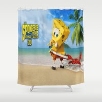 spongebob Shower Curtains featuring spongebob squarepants,cartoon,patrick,Squidward,sandy,Mr. Krabs by rosita