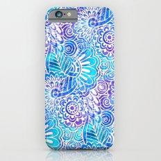 Flower Doodle on Blue Watercolor Slim Case iPhone 6s