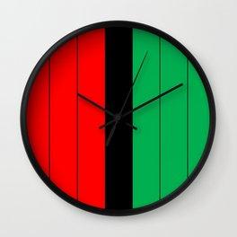 Kwanzaa Red Black Green Stripes Wall Clock