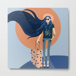Travel Girl Metal Print