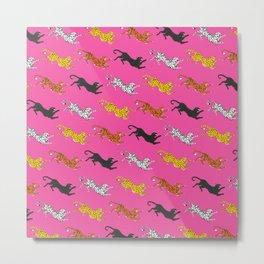 Pink Big Cat Pattern Metal Print