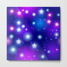 Milky Way Abstract pattern with neon stars on blue background Metal Print
