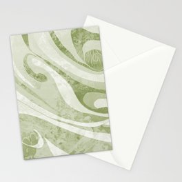 Abstract Green Waves Design Stationery Cards