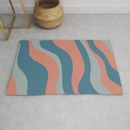 Abstract Waves Pattern Retro Blue Millennial Pink Curving Stripes Rug