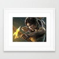 tomb raider Framed Art Prints featuring TOMB RAIDER by Ylenia Pizzetti