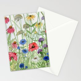 Watercolor of Garden Flower Medley Stationery Cards