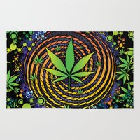 weed Area & Throw Rugs featuring Weed Vortex by Prism Code