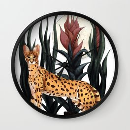 Serval. African wild cat  Wall Clock