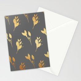 Winter Leaf Pattern (Gold&Granite) Stationery Cards