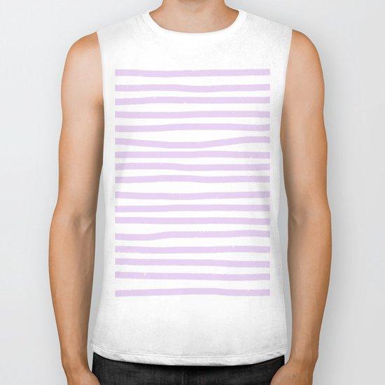 Lilac Stripes Horizontal Biker Tank