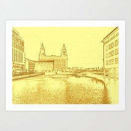 Liver Building from Princes Dock (Digital Art) Art Print
