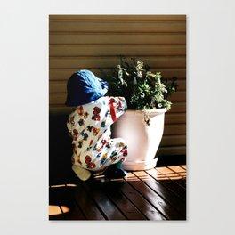 Ben and flowerpot Canvas Print
